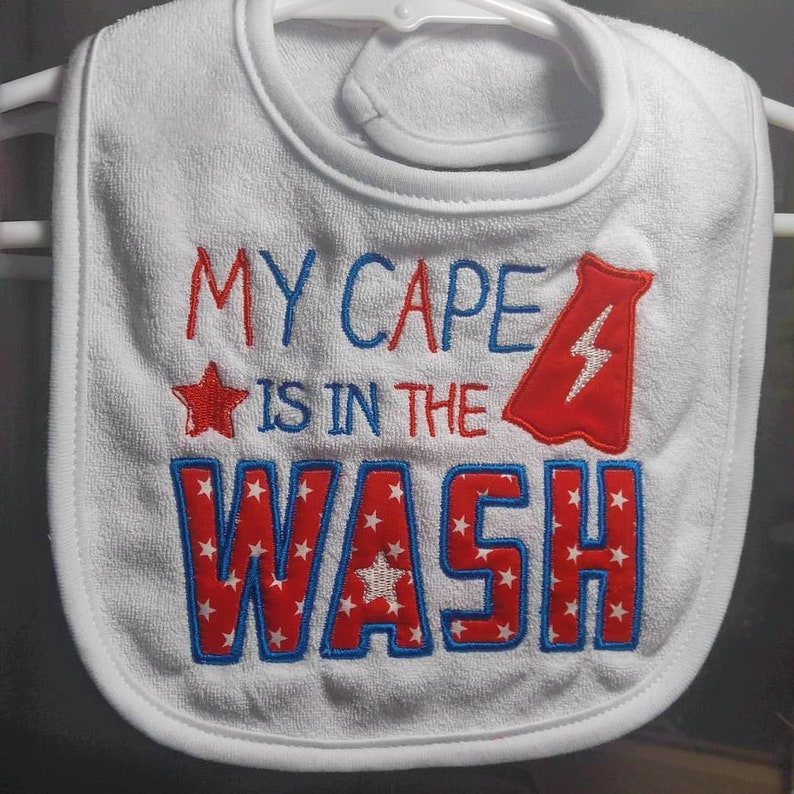 My Cape is in the Wash applique machine embroidered infant image 0