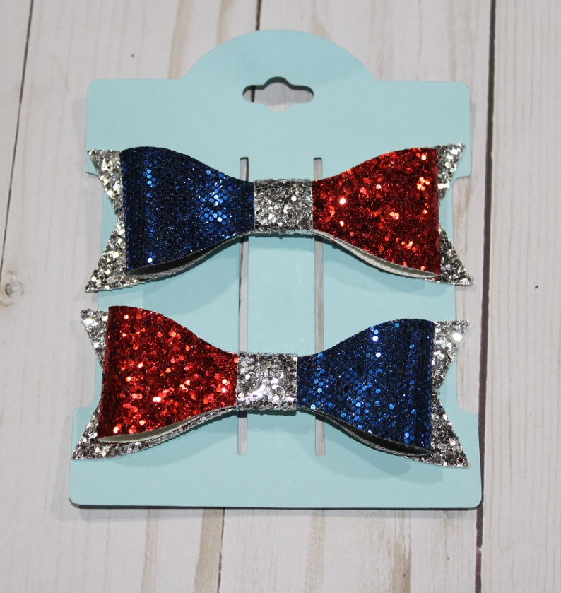 Set of 2 small red silver and blue glitter layered hairbow image 0