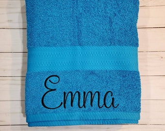 Personalized & Customized Bath Towel. Pick your font and color.