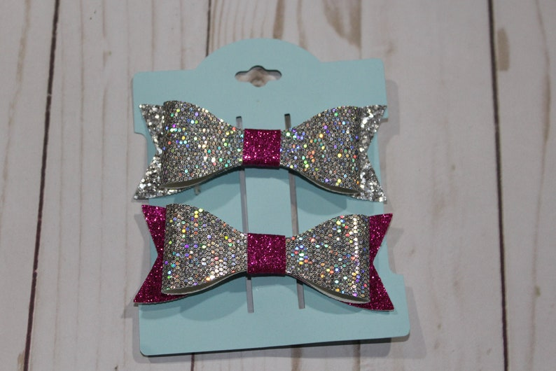 Set of 2 small pink and silver glitter layered hairbow clip. image 0