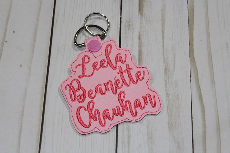 Personalized Custom-made Embroidered Name Keychain Keyfob image 0