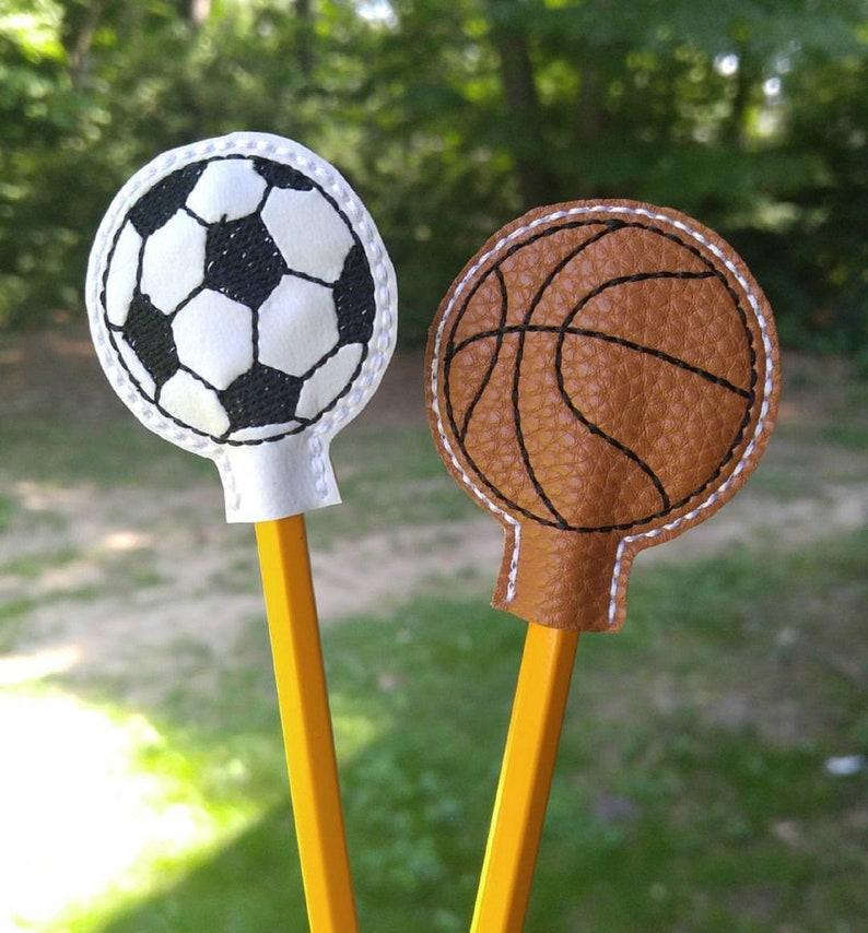 Basketball Soccer Ball Pencil Topper. Embroidered Basketball image 0