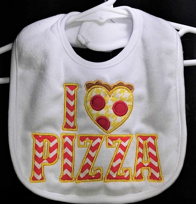 I Love Pizza machine embroidered applique infant toddler white image 0