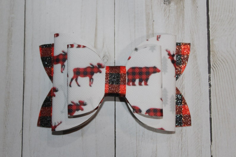Red and Black Plaid Woodland Animal print layered hairbow image 0