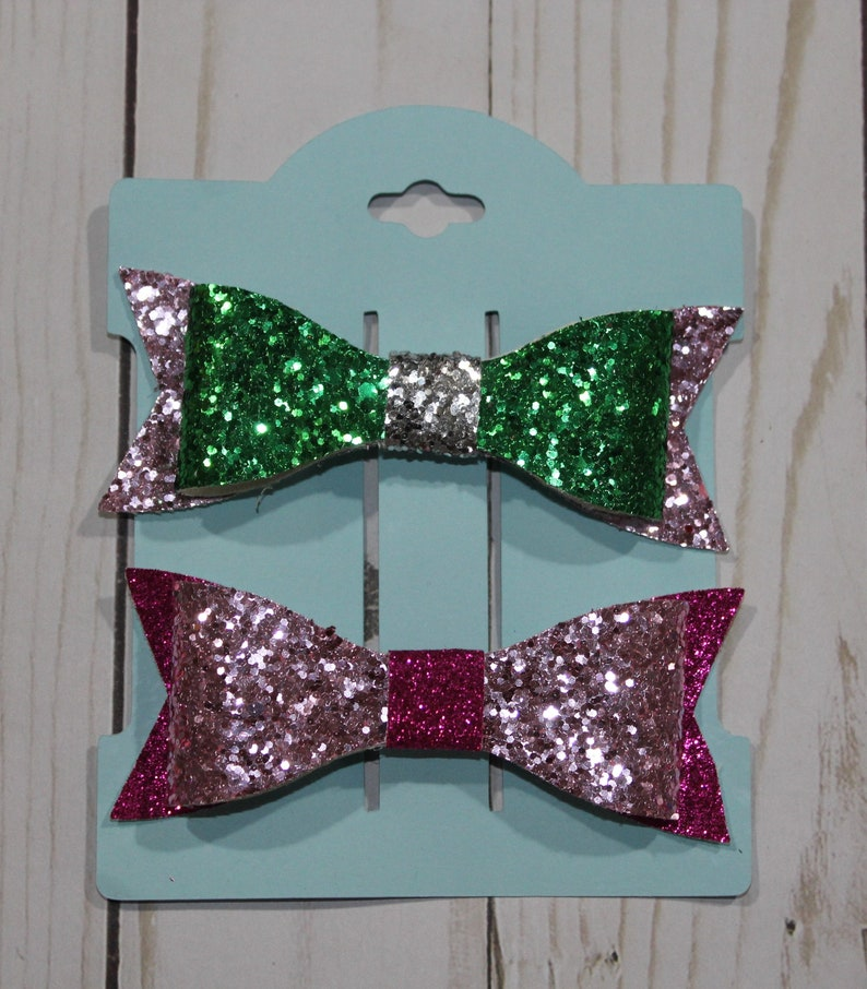 Set of 2 small pink and green glitter layered hairbow clip. image 0