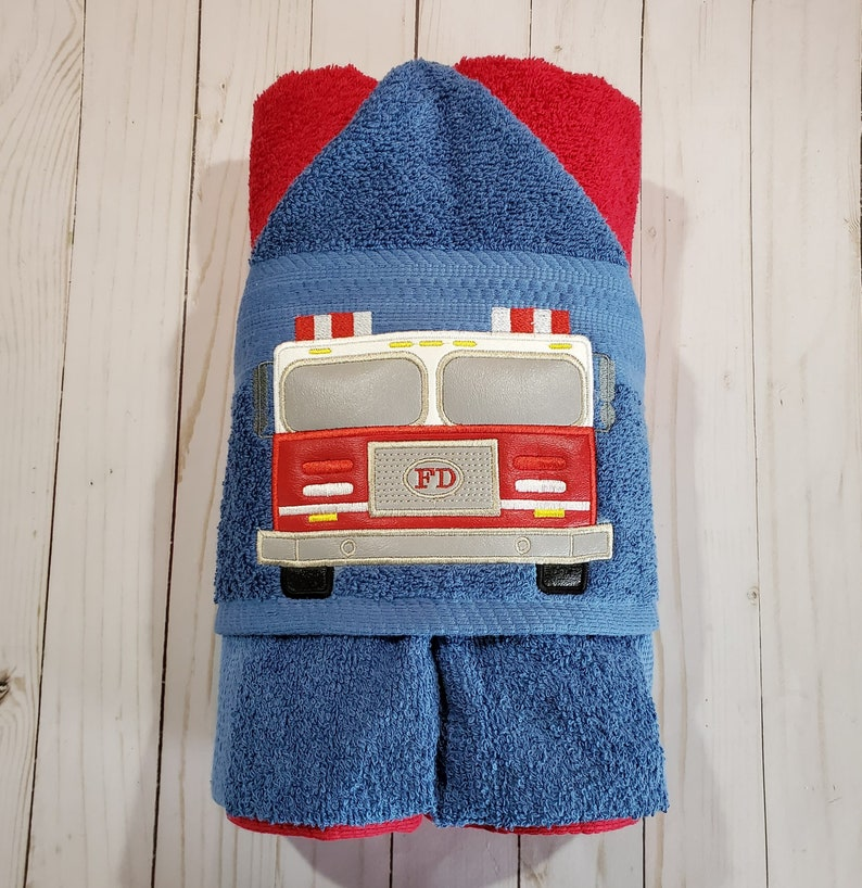 Personalized Fire Truck Machine Embroidered Hooded Towel image 0