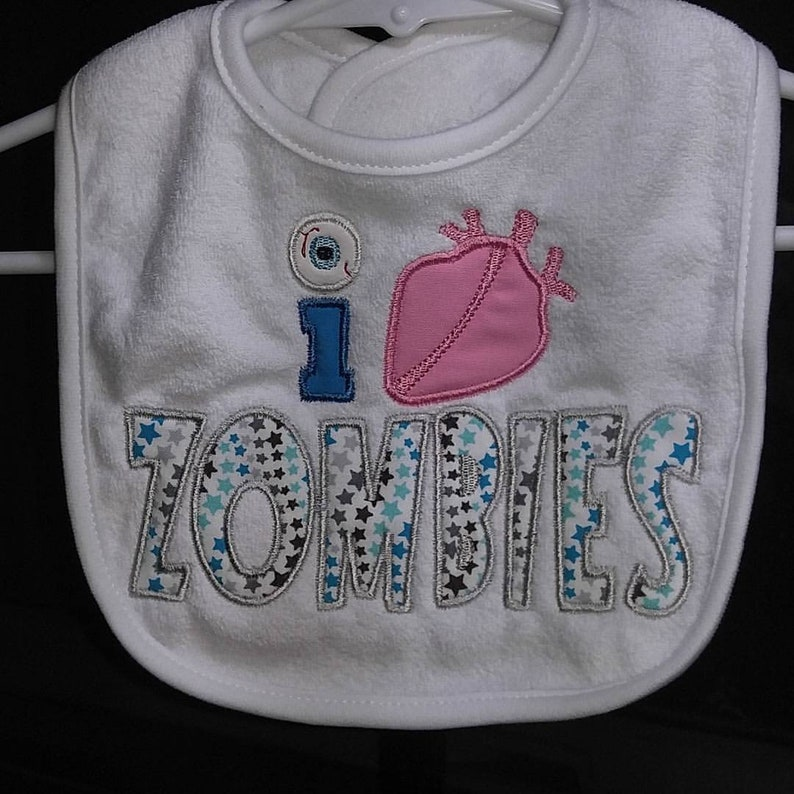 Machine embroidered I Love Zombies infant toddler white bib. image 0