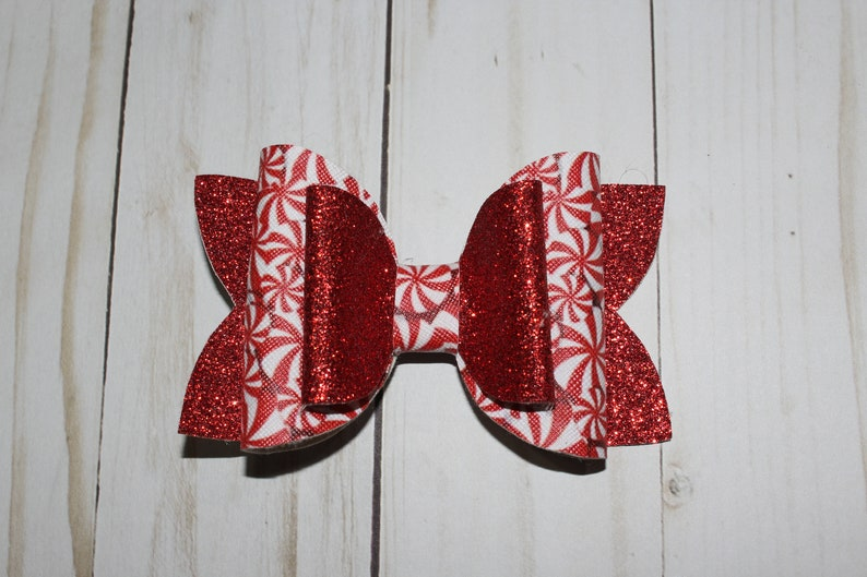 Christmas peppermint holiday hairbow. red sparkly bow image 0