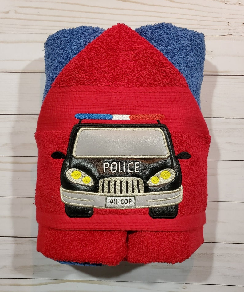 Personalized Police Car Machine Embroidered Hooded Towel image 0