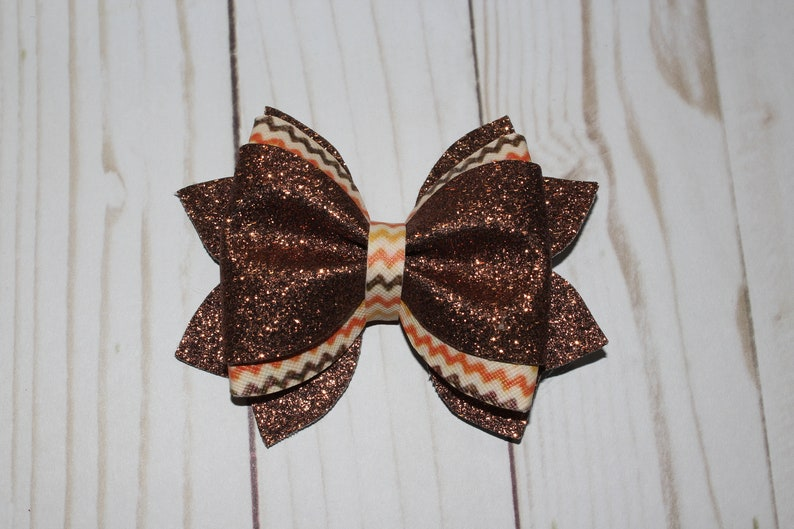 Thanksgiving Fall Festive Holiday Hairbow. Brown glitter image 0
