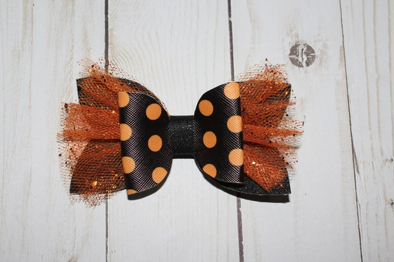 Halloween Polka Dot Holiday Hairbow. Polka dots and black image 0