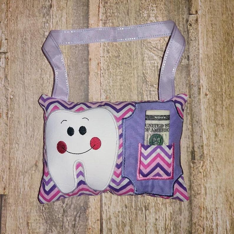 Pink and purple chevron zig zag fabric Hanging Tooth Fairy image 0