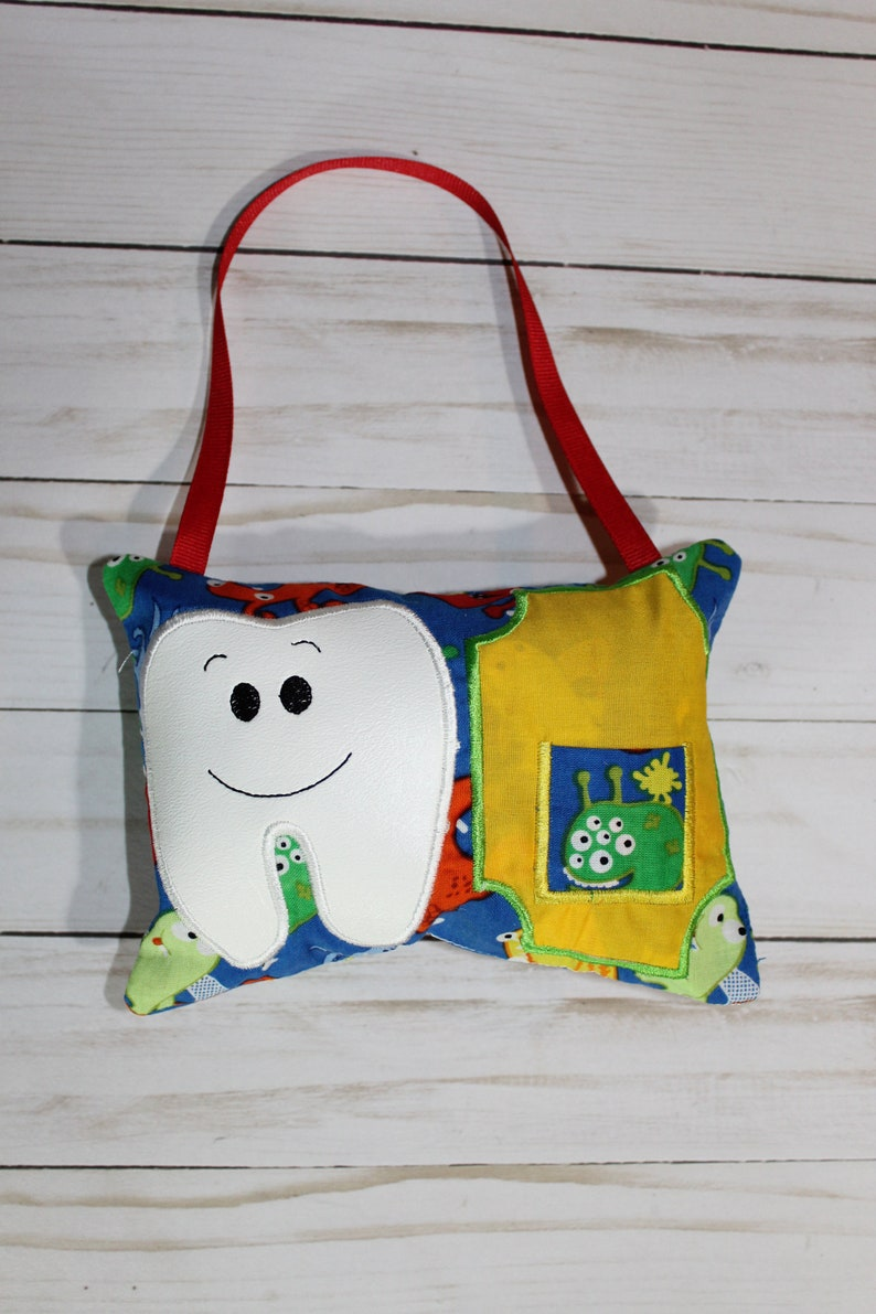 Cute Monster print fabric Hanging Tooth Fairy Pillow image 0