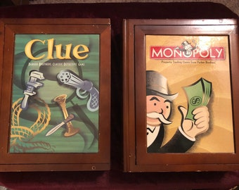 Bookshelf Classic Monopoly Clue Games In Wooden Boxes