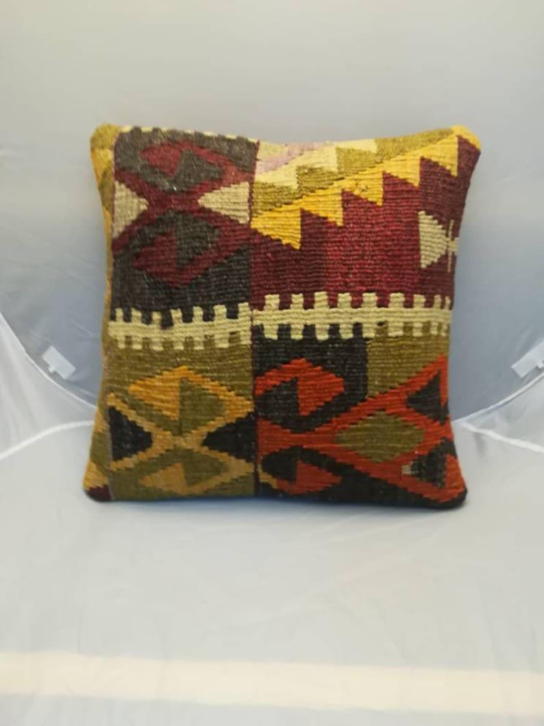Kilim pillow Ethnic pillow 16x16 Bohemian pillow Throw pillow Turkish kilim pillow geometric aztec