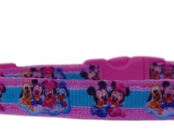 Pink   Mickey Minnie Donald Goofy  medium large dog collar or collar leash set