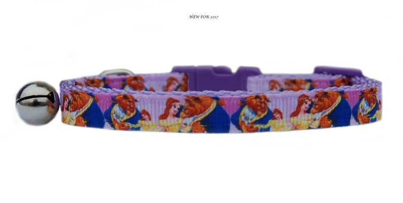 "Lilac /"" Beauty /& The Beast  /""  medium large dog collar and  or lead set Disney"