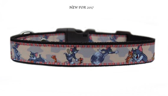 Purple pink Dolphins at moonlight medium large dog collar and  or lead set