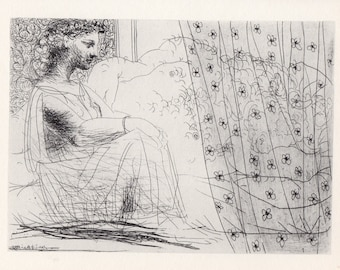 Pablo Picasso Vollard Suite Intertwined Minotaur and Young Woman Dreaming Beneath a Window
