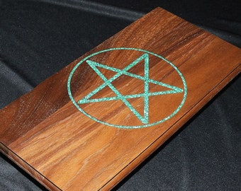 Altar Table / Pentacle / Crushed Malachite Inlay / Meditation Altar / Tarot Table / Pagan Altar / Witch Altar / Sacred Space / Handmade
