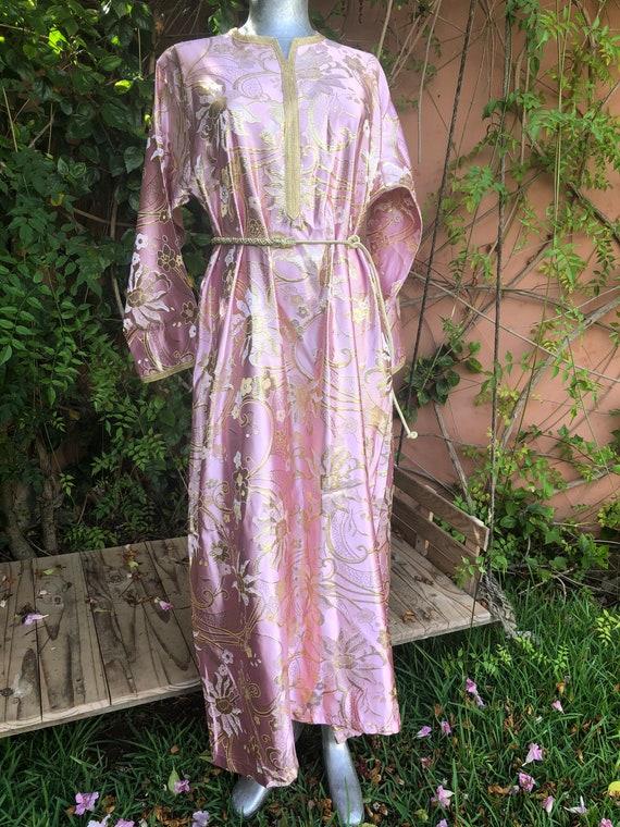 Vintage Pink & Gold Moroccan Kaftan