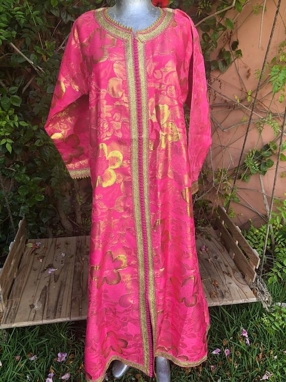 Vintage Hot Pink & Gold Moroccan Kaftan