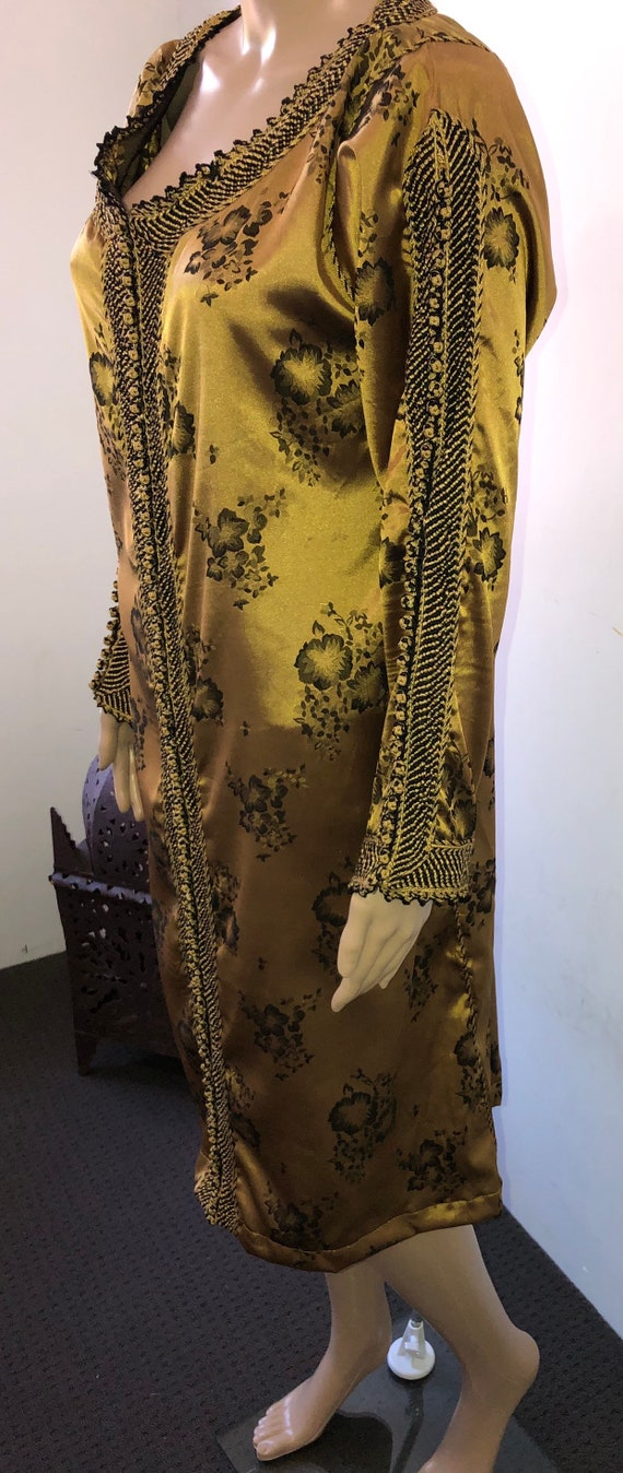 Gold & Black Moroccan Kaftan Dress