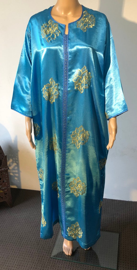 Vintage Turquoise & Gold Moroccan Kaftan