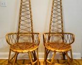 Mid-Century Albini Style Italian Bamboo and Rattan Arm Chairs- a Pair
