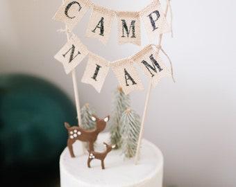 Camp Cake Topper, Camp Burlap Cake Topper, Rustic Camp Lumberjack Cake Topper, Personalized Name Cake Topper, One Cake Topper