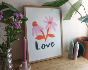 Love Screen Print Poster, Limited Edition Artwork, DLAM 30cm by 40cm