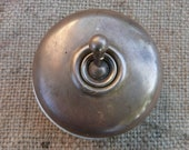 French Vintage Large Brass Toggle Light Switch Porcelain Back Circa 1940 Industrial Loft