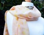 Scarf on 100% Artic Wool Gauze  - Eco Printed Dandelions  175cm x 35 cm