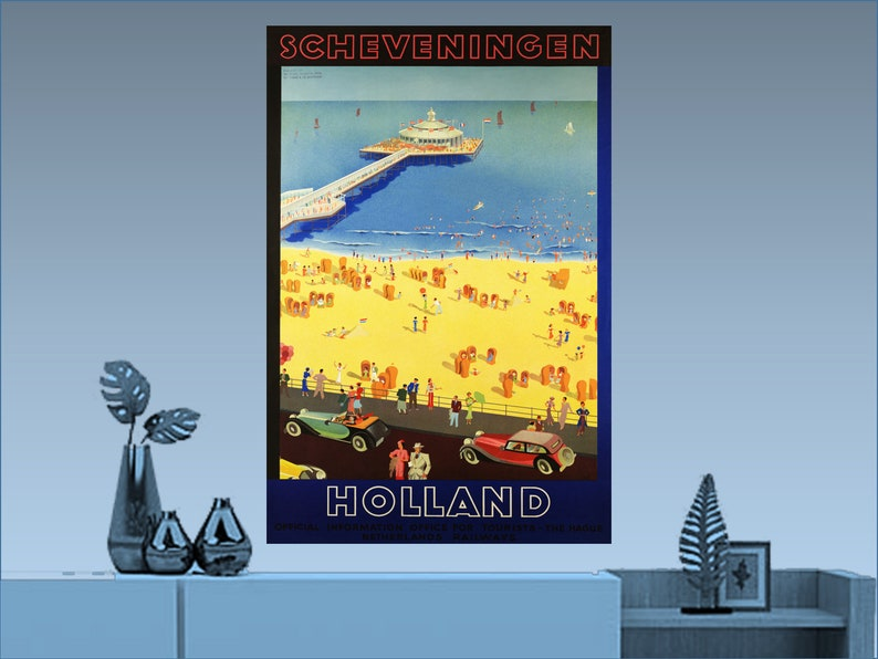 Scheveningen Holland Europe European Vintage Travel Advertisement Art Poster