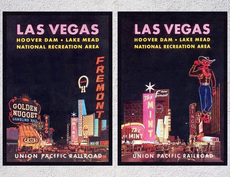 Las Vegas Poster Nevada Print Set of 2 Travel Wall Art Las Vegas Vintage Travel Poster