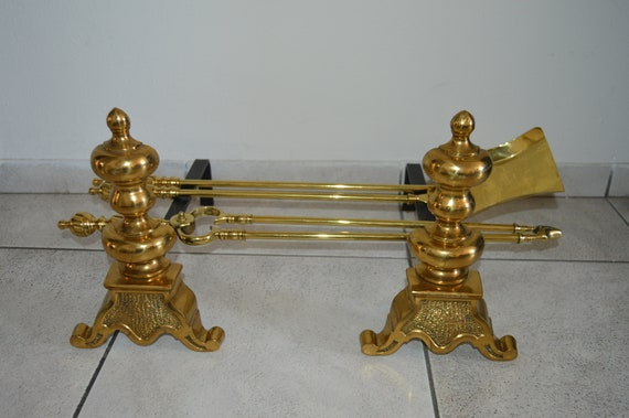 French Vintage Brass Fireplace Tools Fireplace Accessories Etsy