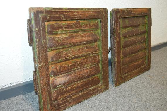 Pair of Old Vintage Mediterranean Window Shutters Wood Shutters Reclaimed wood Shutters Wall Hanging Wall Decor