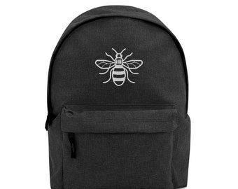 Worker Bee White Embroidered Logo Backpack