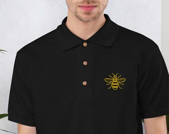 Manchester Bee Embroidered Polo Shirt