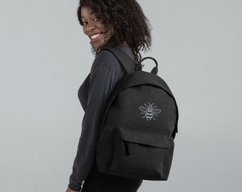 Grey Bee Manchester Worker Honey Embroidered Backpack