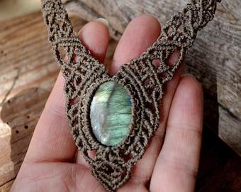 Macrame Choker Labradorite,Necklace Labradorite Macrame,Gipsy,Tiara,Macrame Necklace,boho,hippie,Festival,tribal,Medieval,Moonstone