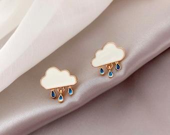 Cloud earring,raindrop stud earring,Cloud raindrop stud earring,cloud drop earring,raindrop stud earring,cute earring, kawaii earring,korean
