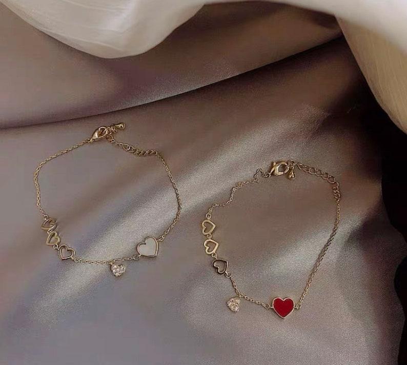ladies heart shape Temperament love crystal bracelet,heart bracelet,chain bracelet,love bracelet