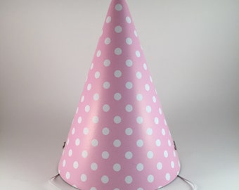 ccd52aabb51e9 12 party hats Pink & White Polka Dots set of 12 paper cone hat dot pattern party  hats for adults birthday baby shower going away bridal
