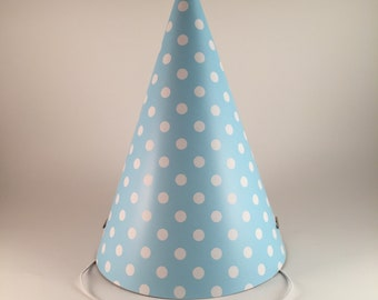 12 Party Hats Blue White Polka Dots Set Of Paper Cone Hat Dot Pattern For Adults Birthday Baby Shower Going Away Parties