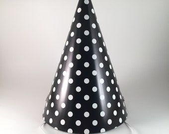 fb9fe967458b9 12 party hats Black & White Polka Dots set of 12 paper cone hat dot pattern party  hats for adults birthday going away divorce funeral
