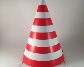 763d61630d978 12 party hats Red and White Stripes set of 12 paper cone hat stripe pattern party  hats for adults birthday going away Christmas