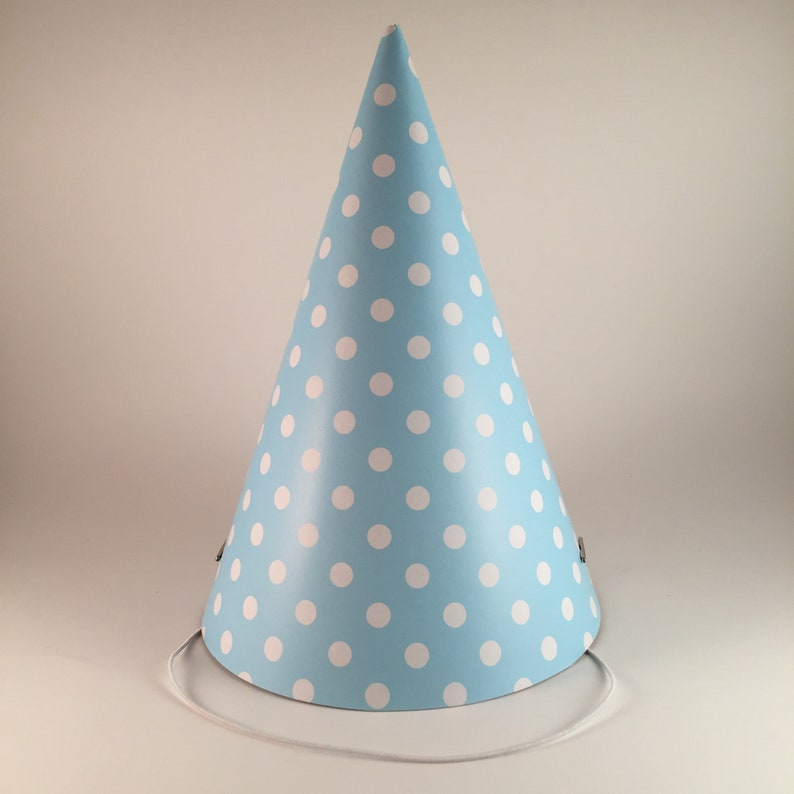 12 Party Hats Blue White Polka Dots Set Of Paper Cone Hat