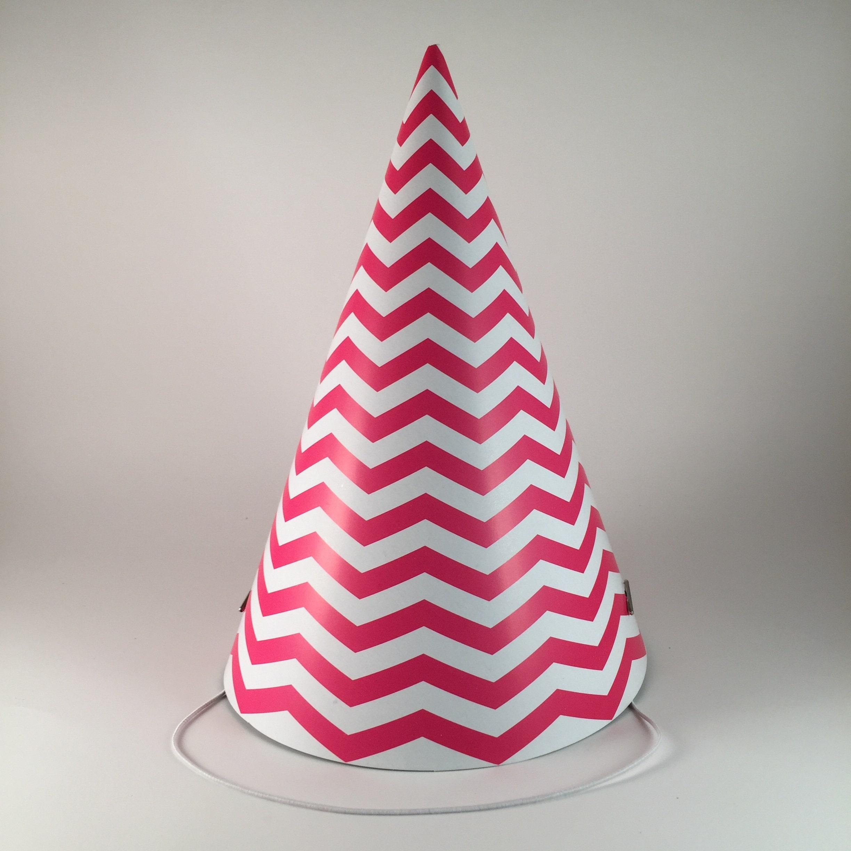 12 Party Hats Pink White Zig Zag Stripes Chevron Pattern Set
