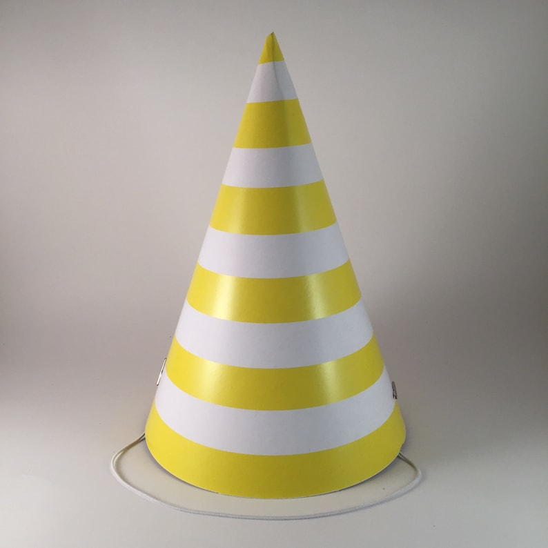 12 party hats Yellow and White Stripes set of 12 paper cone image 0